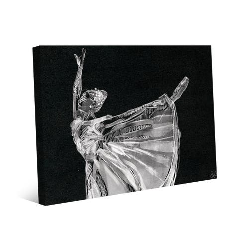 Kathy Ireland Ballerina Balance on Black Abstract on Gallery Wrapped Canvas Wall Art Print