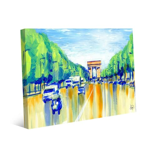 Kathy Ireland Ave De La Grande Armee, Paris France in Blue on Gallery Wrapped Canvas Wall Art Print