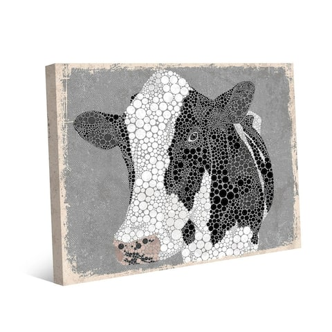 Kathy Ireland Dottie the Cow on Gray on Gallery Wrapped Canvas Wall Art Print