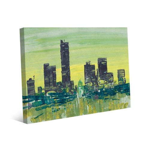 Kathy Ireland Dusk Boulevard in Lime & Chartreuse Abstract on Gallery Wrapped Canvas Wall Art Print