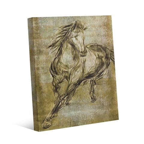 Kathy Ireland Ecru Buckskin Horse Drawing on Yellow Ochre on Gallery Wrapped Canvas Wall Art Print