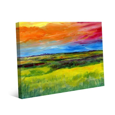 Kathy Ireland Colorful High Plains Abstract Landscape on Gallery Wrapped Canvas Wall Art Print