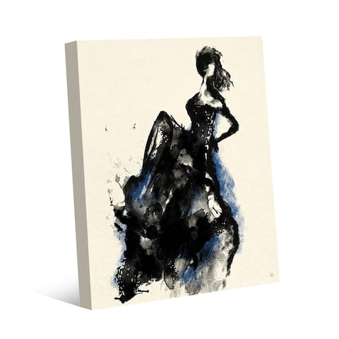 Kathy Ireland Dancing Woman in Blue Accent Dress Abstract on Gallery Wrapped Canvas Wall Art Print