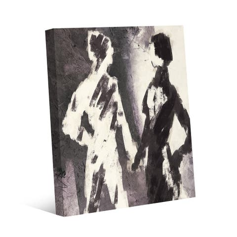 Kathy Ireland Couple Figures Contrast in Gray Abstract on Gallery Wrapped Canvas Wall Art Print