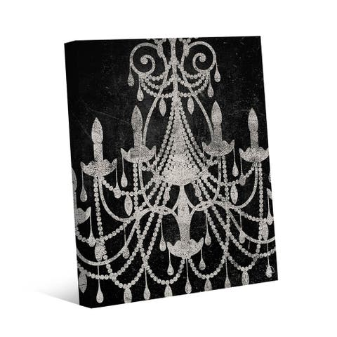 Kathy Ireland Distressed Chandelier in Black & White on Gallery Wrapped Canvas Wall Art Print