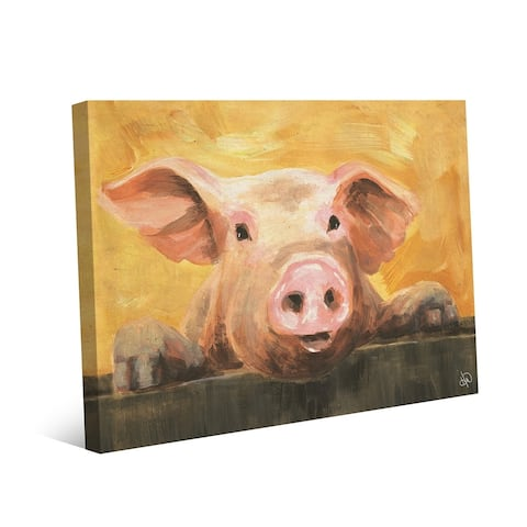 Kathy Ireland The Pig Next Door Wants a Snack on Gallery Wrapped Canvas Wall Art Print