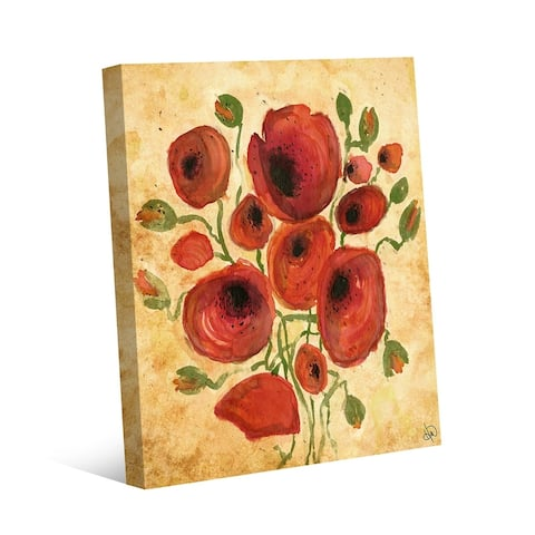 Kathy Ireland Tuscan Poppies on Tan Abstract on Gallery Wrapped Canvas Wall Art Print