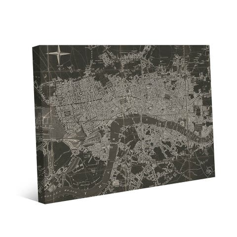 Kathy Ireland The River Thames Map on Gallery Wrapped Canvas Wall Art Print