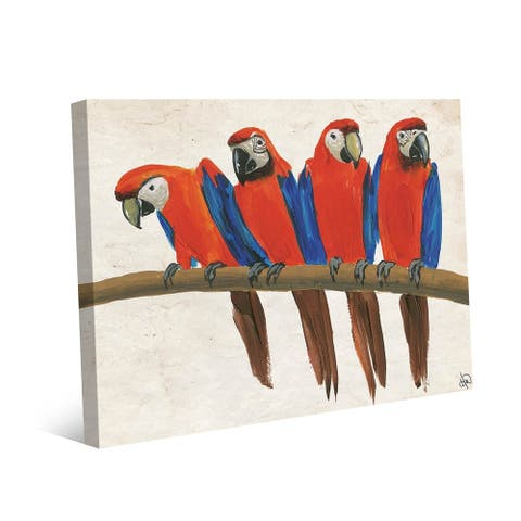 Kathy Ireland Red Macaw Parrots On A Tree Branch on Gallery Wrapped Canvas Wall Art Print