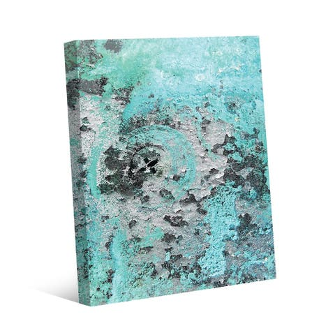 Kathy Ireland Rust Speckled Wall in Teal & Brown Abstract on Gallery Wrapped Canvas Wall Art Print
