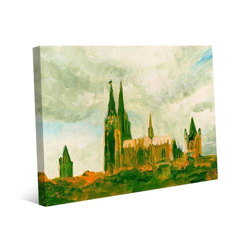 Kathy Ireland Kolner Dome - Cologne Cathedral Germany in Green on Gallery Wrapped Canvas Wall Art Print