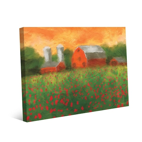 Kathy Ireland Hampton Ranch with Red Flower Field Abstract on Gallery Wrapped Canvas Wall Art Print