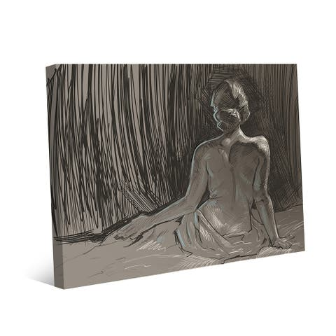 Kathy Ireland Back of Nude Sketch on Gray on Gallery Wrapped Canvas Wall Art Print