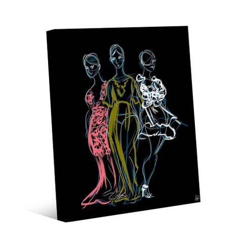 Kathy Ireland Fashionista Trio Sketch in Pink Blue Green & White on Gallery Wrapped Canvas Wall Art Print