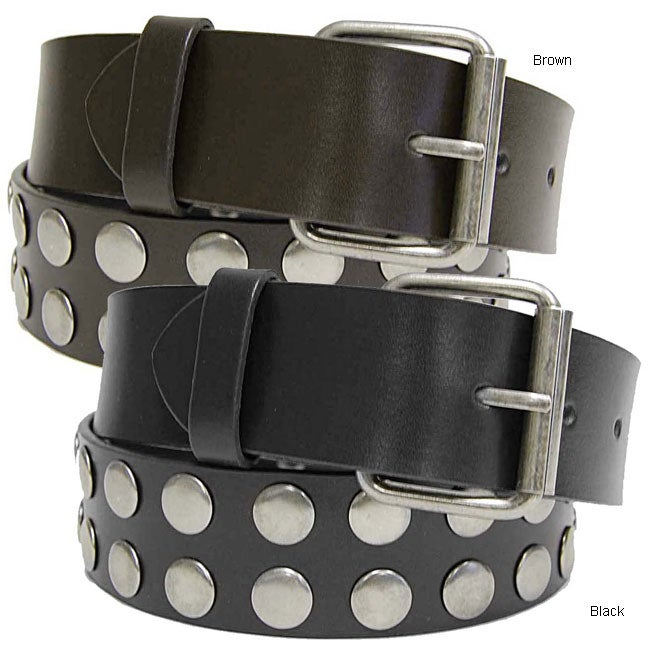 BT Studded Leather Belt with Changeable Buckle