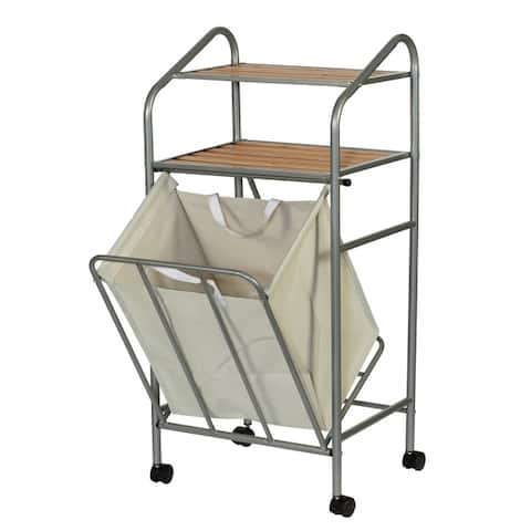 Creative Bath Double Shelf Storage Hamper on Wheels