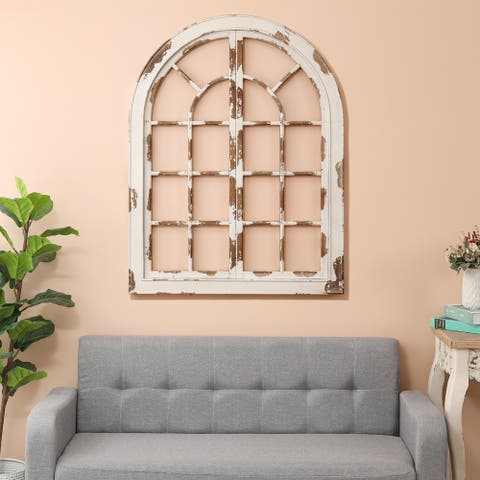 Distressed White Wood Arched Window Wall Decor