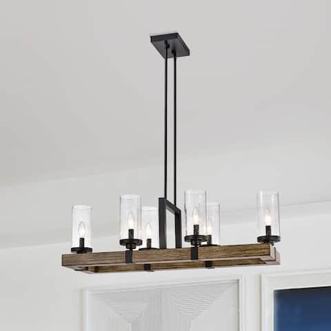 Victorina Black 6 Light Bulb with Seeded Glass Shade Pendant Light