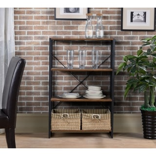 4 Tier  industrial look metal and wood bookcase