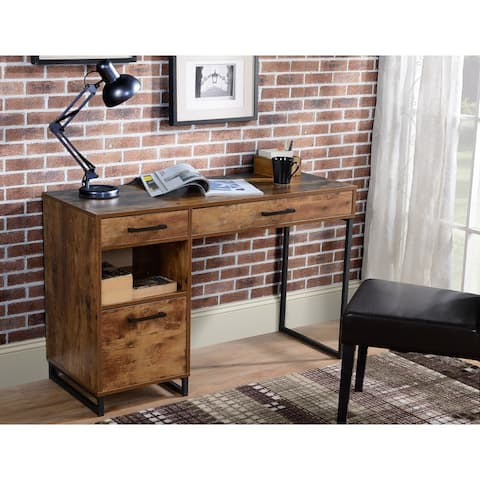 Rustic Wood finish Computer Desk with Metal legs