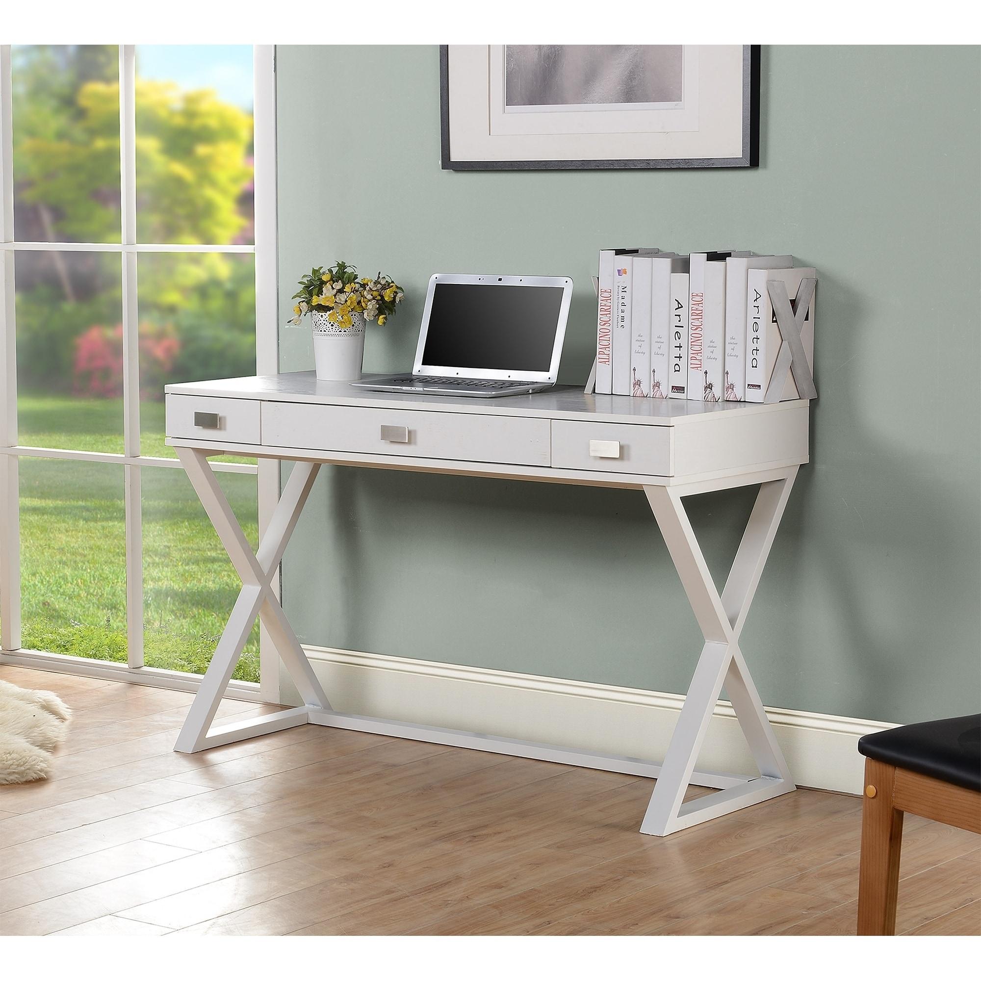 White Finish Wood Study Computer Desk Overstock 30965190