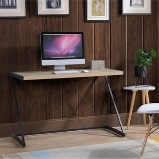 Link to Light Oak finish Computer Desk with metal base Similar Items in Desks & Computer Tables