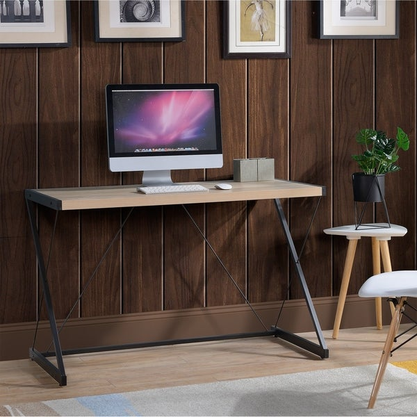 Light Oak finish Computer Desk with metal base. Opens flyout.