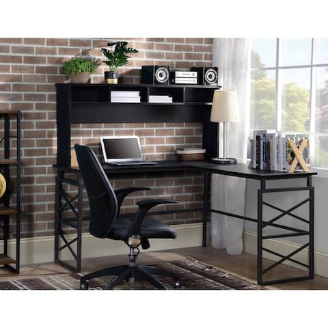Dark brown finish wood L Shape desk with metal base