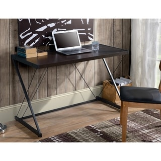 Dark Oak finish Computer Desk with metal base