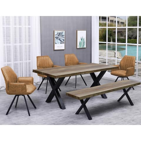 Best Master Furniture 6 Pieces Rustic Natural Rectangular Dining Set