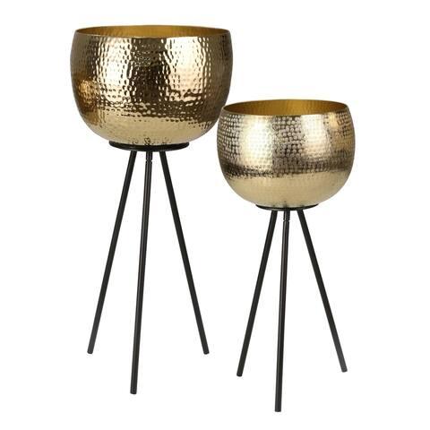 "Iron 26""/22"" Hammered Bowl planters, Gold/Black, Kd (Set of 2)"