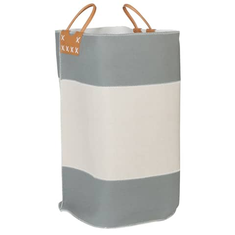 Creative Bath Striped Collection Color Block Fabric Hamper