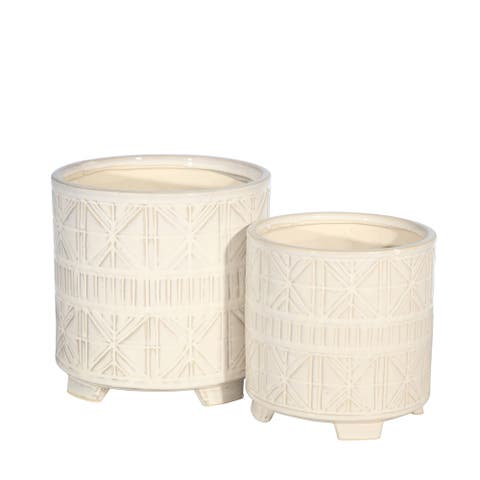 """Ceramic 8/6.5"""" Abstract Footed Planter, Beige (Set of 2)"""