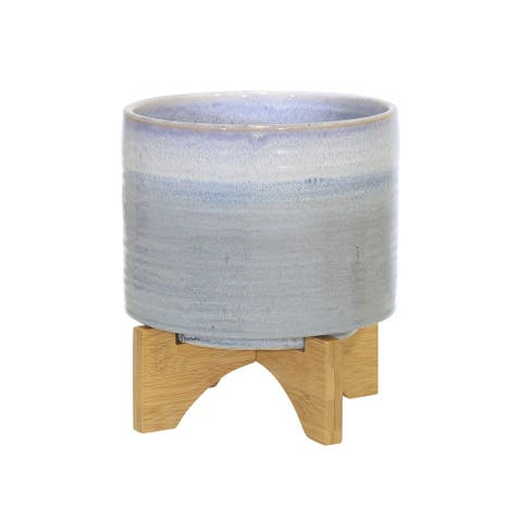 "Ceramic 9"" Planter On Stand, Blue Fade"