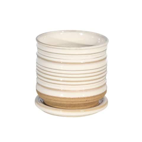 """Ceramic 4.5"""" Planter W/ Saucer, White"""