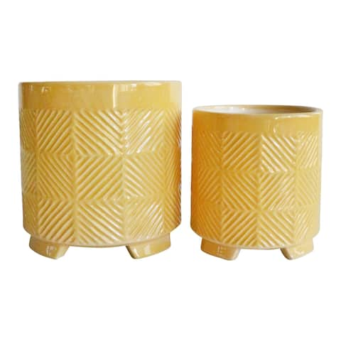 "Ceramic 6/8"" Abstract Footed Planters, Yellow (Set Of 2)"