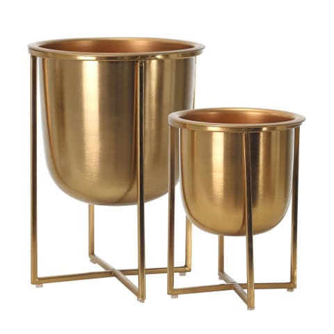 "Metal Planters On Stand 13/10""H, Gold (Set Of 2)"