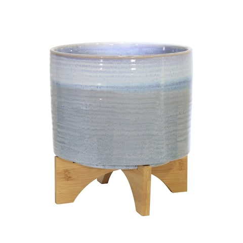 "Ceramic 12"" Planter On Stand,Blue Fade"