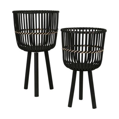 """28/22""""H Bamboo Planters, Black (Set of 2)"""