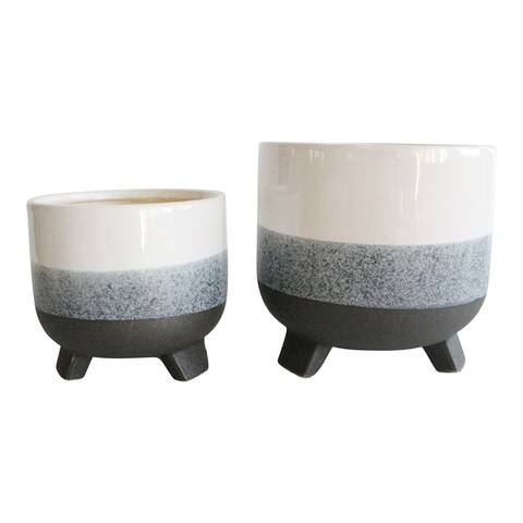"""Ceramic 6/8"""" Footed Planter, Layered Gray (Set of 2)"""