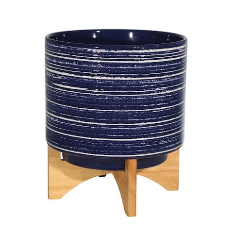 "Ceramic 10"" Planter On Stand, Blue"