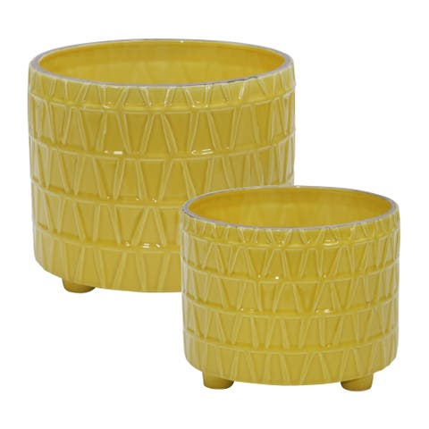 "Ceramic Footed Etched Planter 10/12"", Yellow (Set Of 2)"