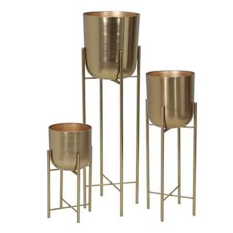 """Metal Planters On Stand 40/30/20""""H, Gold (Set of 3)"""