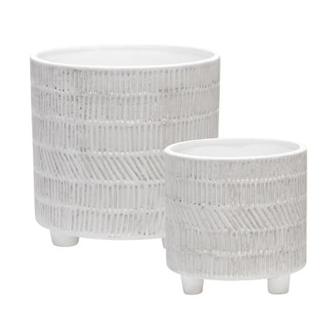 "Ceramic Tribal Look Footed Planter 6/8"", Ivory (Set Of 2)"