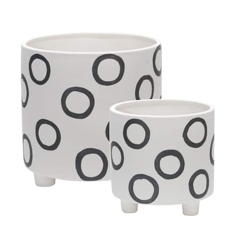 """Ceramic Footed Planter W/ Circles 6/8"""", Ivory (Set of 2)"""