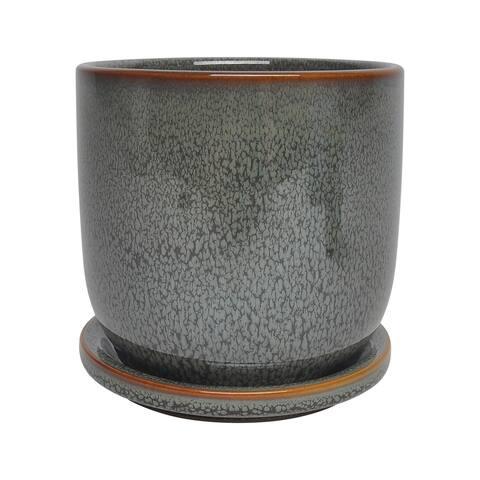 """Ceramic 5"""" Planter W/ Saucer, Green"""