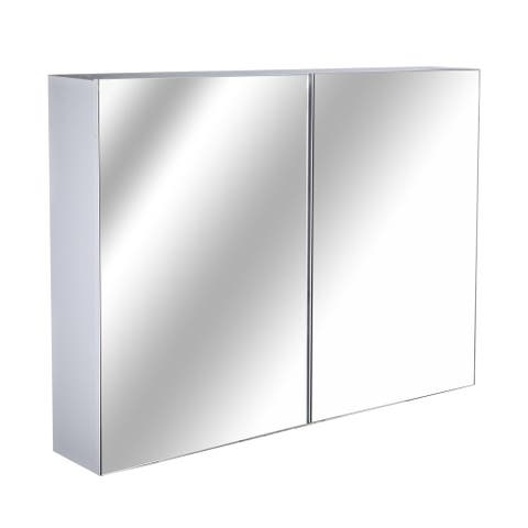 HOMCOM Double Door Wall Mounted Bathroom Mirror Medicine Cabinet with Modern Design, Large Storage, & Quiet Hinges