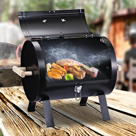 """Outsunny 20"""" Portable Outdoor Camping Charcoal Barbecue Grill with Wooden Handles & Improved Air Circulation"""