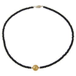 DaVonna 14k Gold Black Onyx and Golden FW Pearl Necklace (12-13 mm)