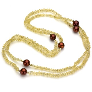 DaVonna 14k Gold Citrine and FW Brown Pearl Necklace